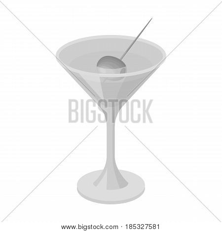 A glass of alcohol with olive.Olives single icon in monochrome style vector symbol stock illustration .