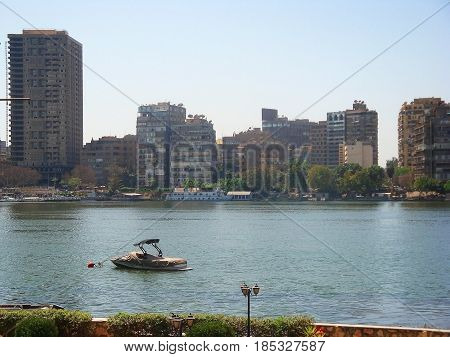 View of Cairo on the Nile and Urban Buildings
