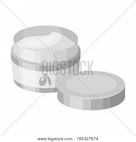 A can of olive cream.Olives single icon in monochrome style vector symbol stock illustration .
