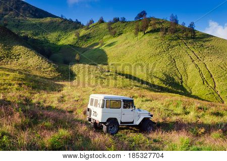 East Java,indonesia-may 05 : Tourists Jeep For Tourist Rent At Mount Bromo,the Active Mount Bromo Is