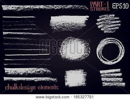 Chalk texture design elements. Set of chalk lines stripes strokes round and rectangle shapes frames on black board. Vector design graphic elements.