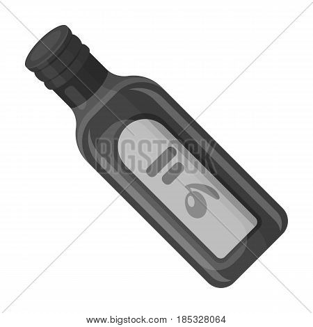 A bottle of olive oil.Olives single icon in monochrome style vector symbol stock illustration .