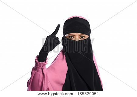 Close Up Asian Muslim Woman In Hijab Pointing With Angry Eyes