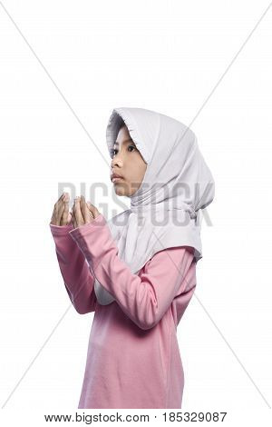 Asian Muslim Girl Wearing Veil And Praying To God