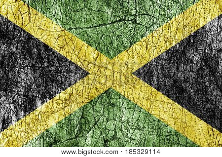 Grudge stone painted Jamaica flag close up