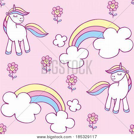 Cute Unicorn Seamless Pattern.eps