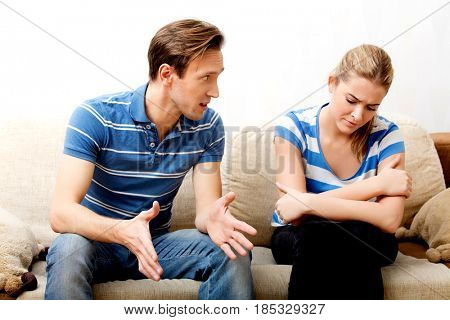 Young couple having conflict at home