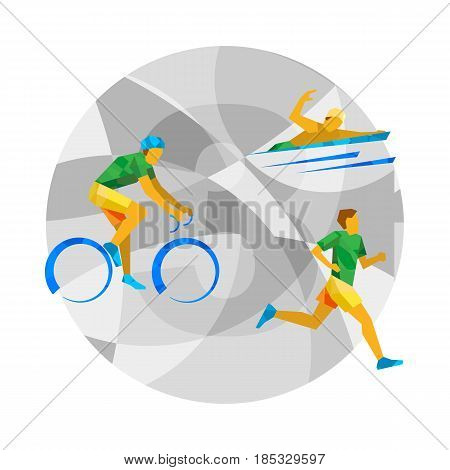 Triathlon with abstract patterns on gray mosaic background. Flat athlete icon. Brazil Sport Infographic - Triathlon vector clip art.