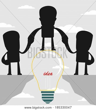 Businessman on a bulb helping a man to cross an abyss. Vector illustration