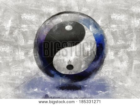 Yin Yang sign.  3D rendering