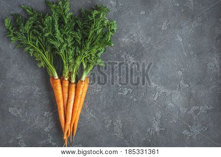 Fresh carrots. Colorful carrots on dark background. Flat lay top view copy space