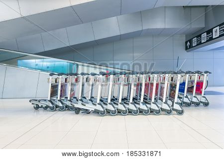 BANGKOK- MAR 01 : The luggage carts at Suvanaphumi Airport in Bangkok on March 01, 2015. Suvarnabhumi airport is world's 4th largest single-building airport terminal.