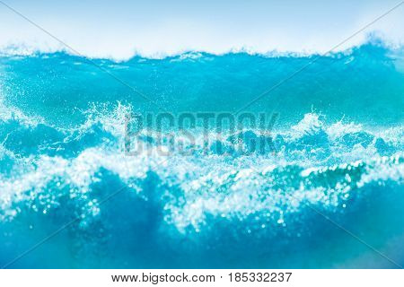 Powerful waves background, beautiful strong waves, perfect for surfing sport, clean blue water, summer vacation on the beach concept