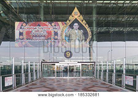 BANGKOK - MAR 01: Suvarnabhumi Airport is one of two international airports serving Bangkok on March 01, 2015 in Bangkok, Thailand. The airport handles 45 million passengers annually.