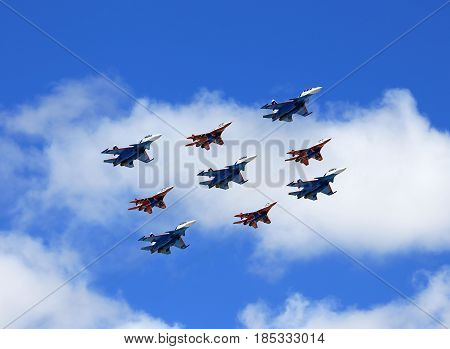 MOSCOW - MAI 4: Group of russian tactical  bombers fly over Red Square in training for the Victory Parade -  on Mai 4, 2017 in Moscow