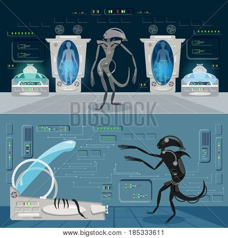 Alien monster in a spaceship banner. Astronauts in cryogenic camera interior of the interstellar ship. Scary alien monster from outer space attacks astronauts vector