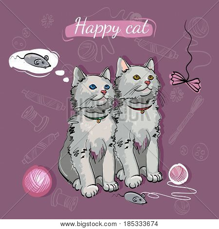Cheerful kittens happy cat dreams of a mouse. Beautiful and funny kittens. Template for cat food veterinary clinic