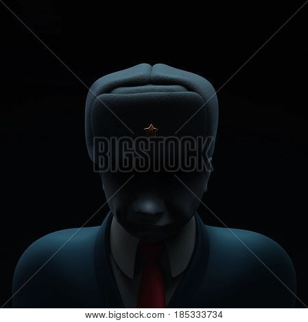 May 6, 2017: Russia blamed in hacking attack ahead of French presidential election. Russian spy with darkened face 3D illustration isolated on black