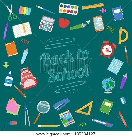 Back to School background. School supplies on green board. Education Concept. Vector illustration.