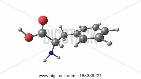 Phenylalanine or Phe is an amino acid with the formula C9H11NO2. 3d illustration