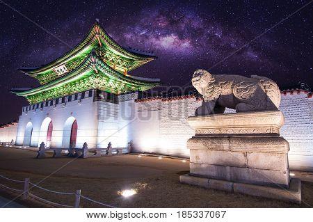 Gyeongbokgung palace and Milky Way in Seoul South Korea.