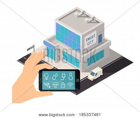 Smart house technology. Smart city controlling system. Isometric vector illustration