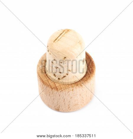 Cork plug isolated over the white background