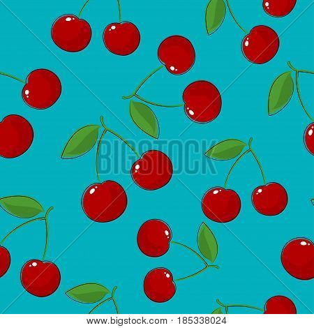 Seamless Pattern of Cherry, Fruit Berry Pattern Sweet Cherry on Azure Background, Vector Illustration
