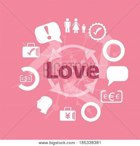Text Love. Social Concept . Icons Set. Flat Pictogram. Sign And Symbols For Business, Finance, Shopp
