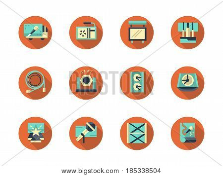 Elements for stage - spotlight, sound, truss system and others. Concert equipment and show organization. Collection of stylish flat red round vector icons.
