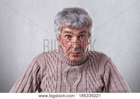 A Horizontal Medium Close-up Of An Elderly Man With Gray Hair Nice Eyes Having Wrinkles On The Face