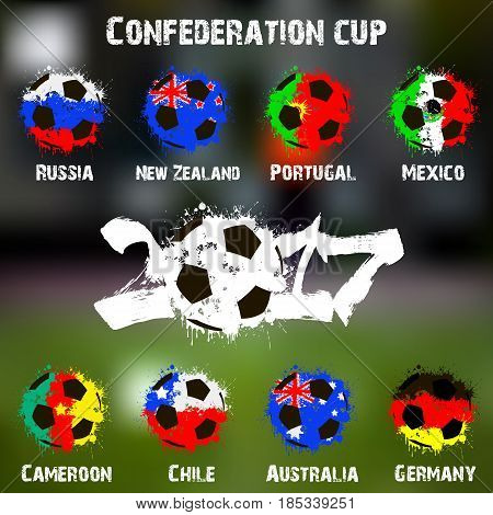 Flags Of The Countries Participant Of The Confederation Cup 2017