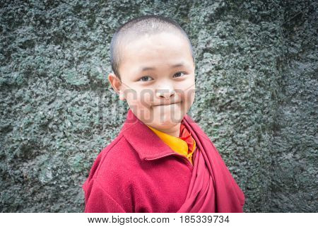 Gangtok, Sikkim, India - Aug 19: An Unidentified Tibetan Lama Prays Mantra At Ramtek Monastery On Au