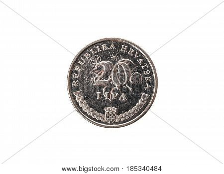 Old Used And Worn Out 20 Lipa Coin.