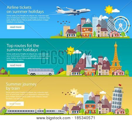 Summer travel banners in flat style. Traveling in time of vacation by plane bus and train. Travel to Britain Italy and France. The summer holiday. Vector illustration