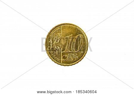 Old Used And Worn Out 10 Cents Euro Coin.