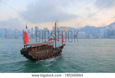 Victoria harbour sunset cityscape in Hong Kong
