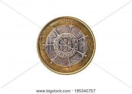 Used Commemorative Anniversary Bimetal 3 Euro Slovenia Coin 2012.