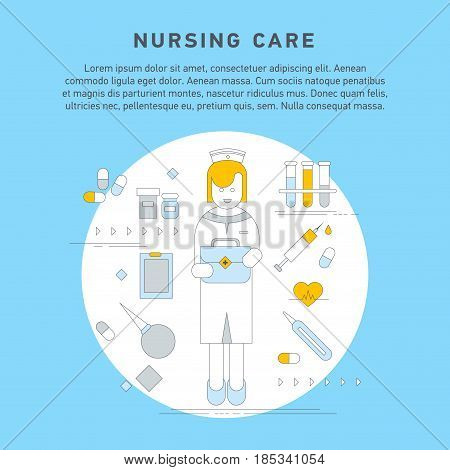 Nurse service primary health care vector illustration. Nursing care flat line doodle. Nursing care at home. First aid kit