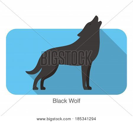 Black wolf standing and roaring, vector illustration