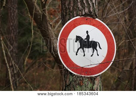 Ingrown Traffic Sign Prohibiting Thoroughfare Of Equestrians