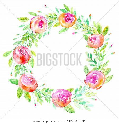Floral wreath. Garland of a rose branches. Watercolor hand drawn illustration.