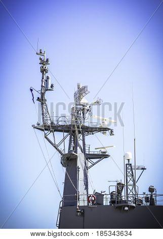 Radar on battleship and blue sky background
