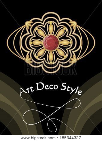 Gold art deco brooch with red gem ruby, antique accessory in victorian style, antiquarian jewel, vector EPS 10