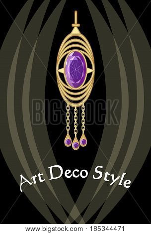 Luxurious art deco jewel, earring with purple gemstone amethyst , victorian old-fashioned style, antique expensive gold, vector EPS 10