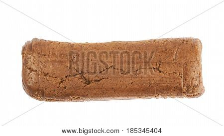Cookie dough briquette isolated over the white background