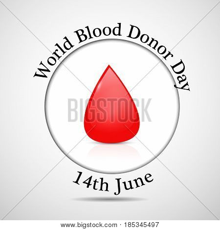 illustration of blood with world blood donor day 14th june text