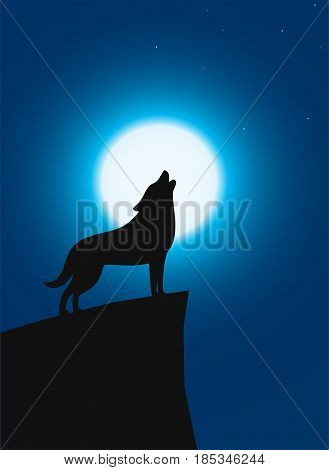 Wolf Standing And Roaring On The Top Of The Cliff
