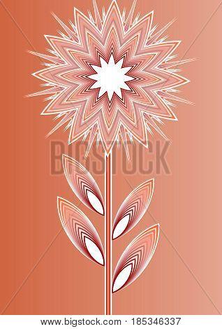 Orange isolated fantasy flower on gradient background, line art illustration, template for poster, invitation, congratulation, birthday, vector EPS 10