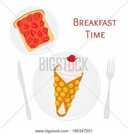 Belgian or chinese waffle with cream, berries, toast with strawberry jam. Made in cartoon flat style. Tasty breakfast illustration.